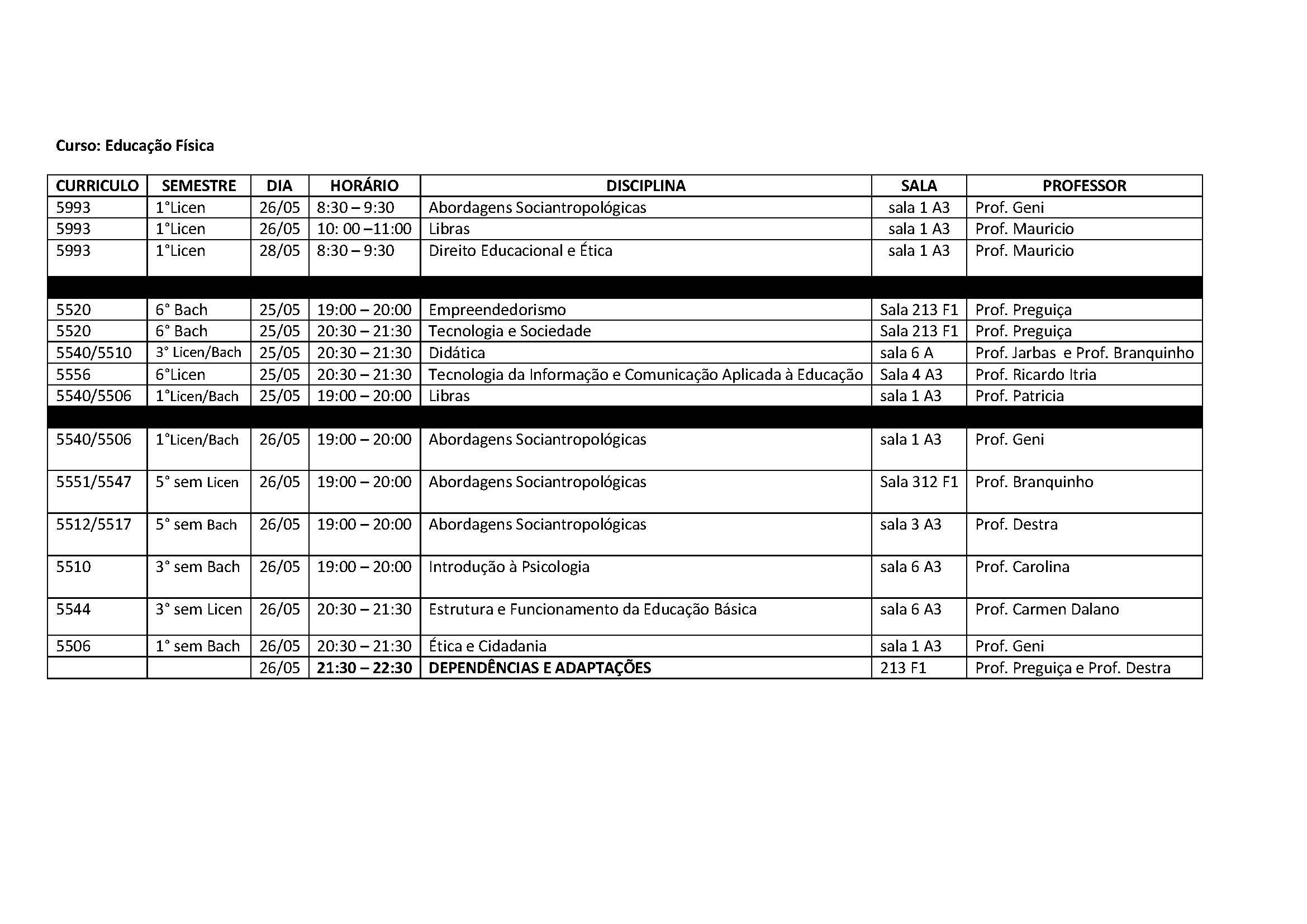 Calendario Unisa.Calendario De Provas Das Disciplinas Web Educacao Fisica Unisa