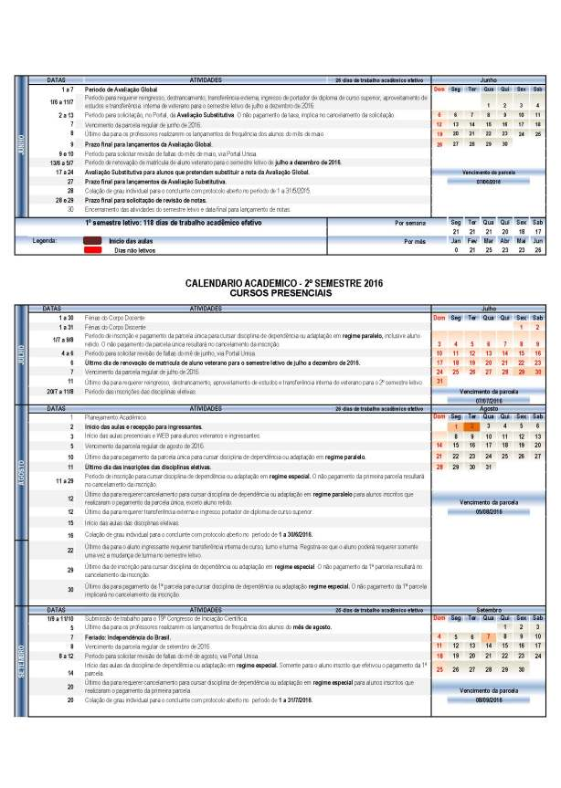 Calendario Unisa.Calendario Academico 2016 Educacao Fisica Unisa